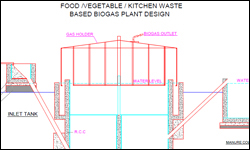 Food   Vegetable   Kitchen Waste Biogas Plant With Gas Generation Elevation Part 51